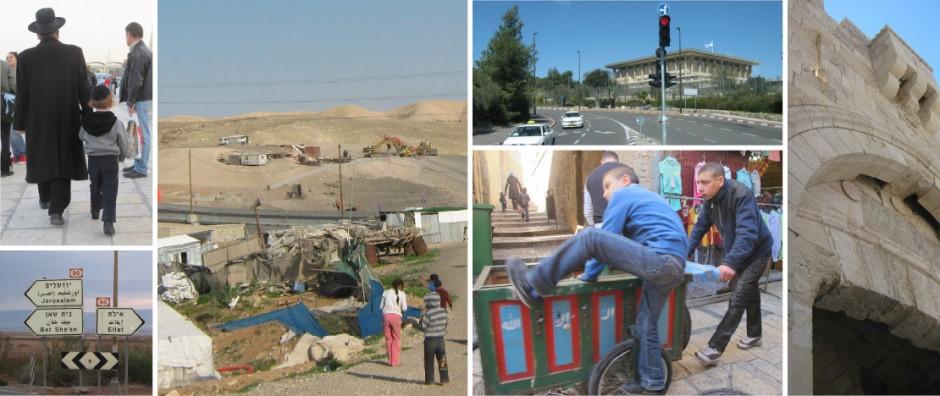 Bilder aus Jerusalem und Beduinen entlang des weges zum Toten Meer