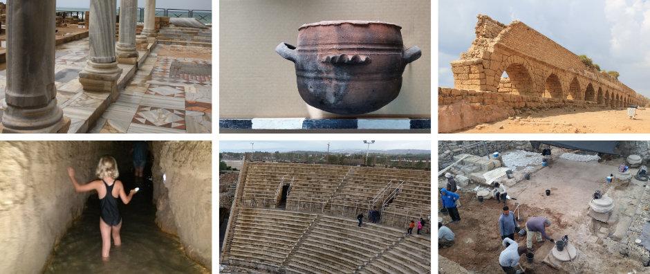 Caesarea: antike Wasserversorgung, Theater, Ausgrabungen